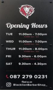 Blacklion Barbershop Hours